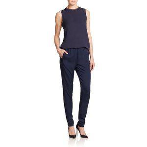 Theory Thorene 100% Silk Slim Elastic Waist Pants